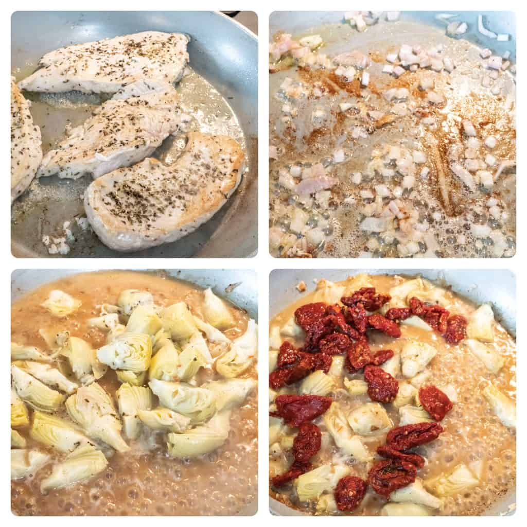 step by step process of making creamy Tuscan chicken