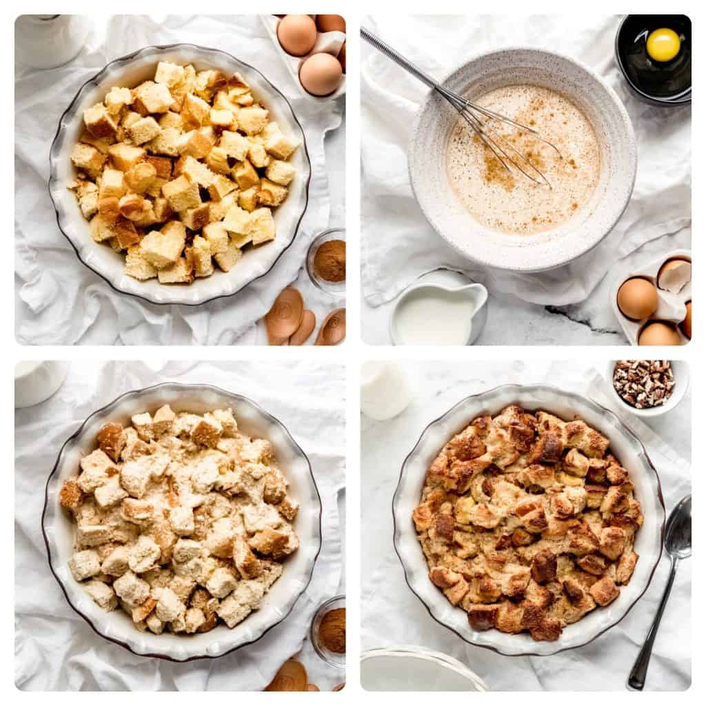 step by step process of how to make eggnog bread pudding