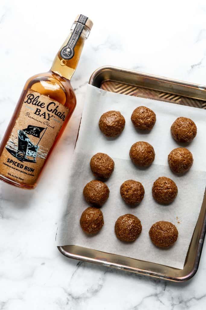 ginger spice rum balls on sheet pan