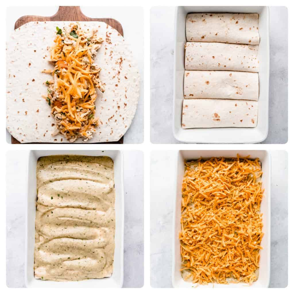 step by step process of making healthier chicken enchiladas
