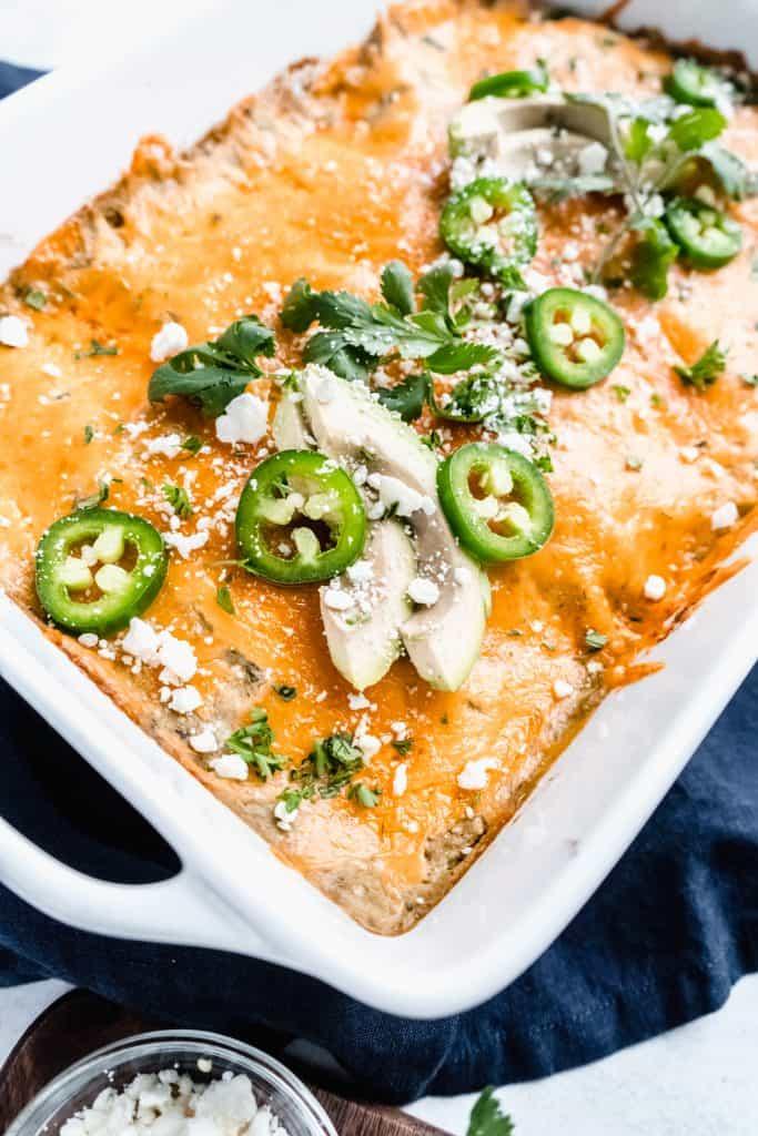healthier chicken enchiladas in baking dish