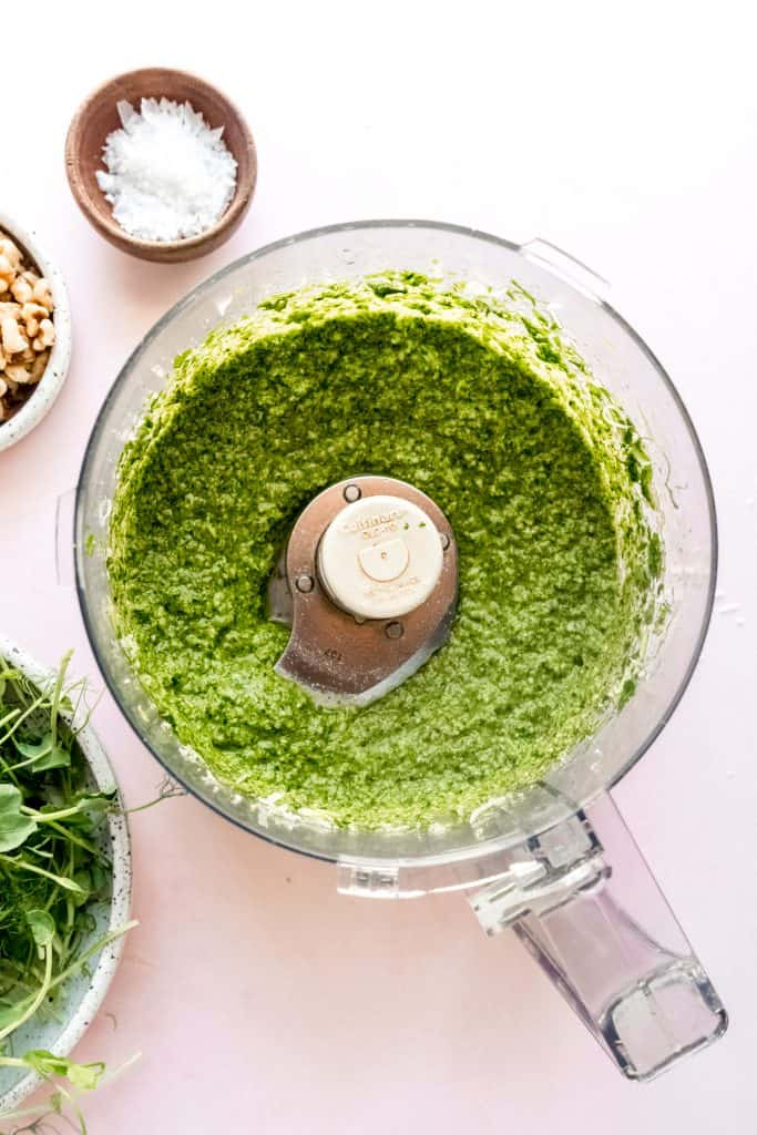 pea shoot pesto blended in food processor