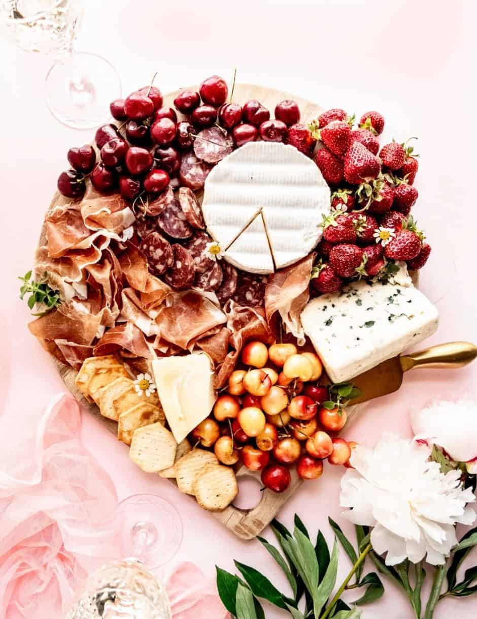 Summer Charcuterie Board with cherries and wine