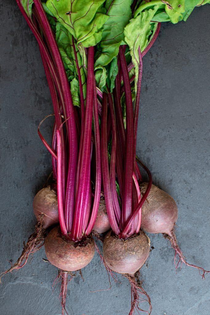 raw beets with stems